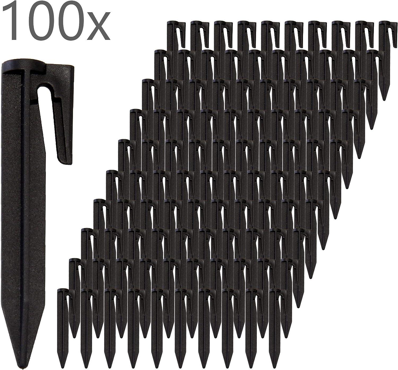 ECENCE Estacas para robot cortacésped, set de 100, fijación para cables delimitadores del robot cortacésped, soporte para cables para cortacésped, clavos para cables delimitadores, anclajes 11040103