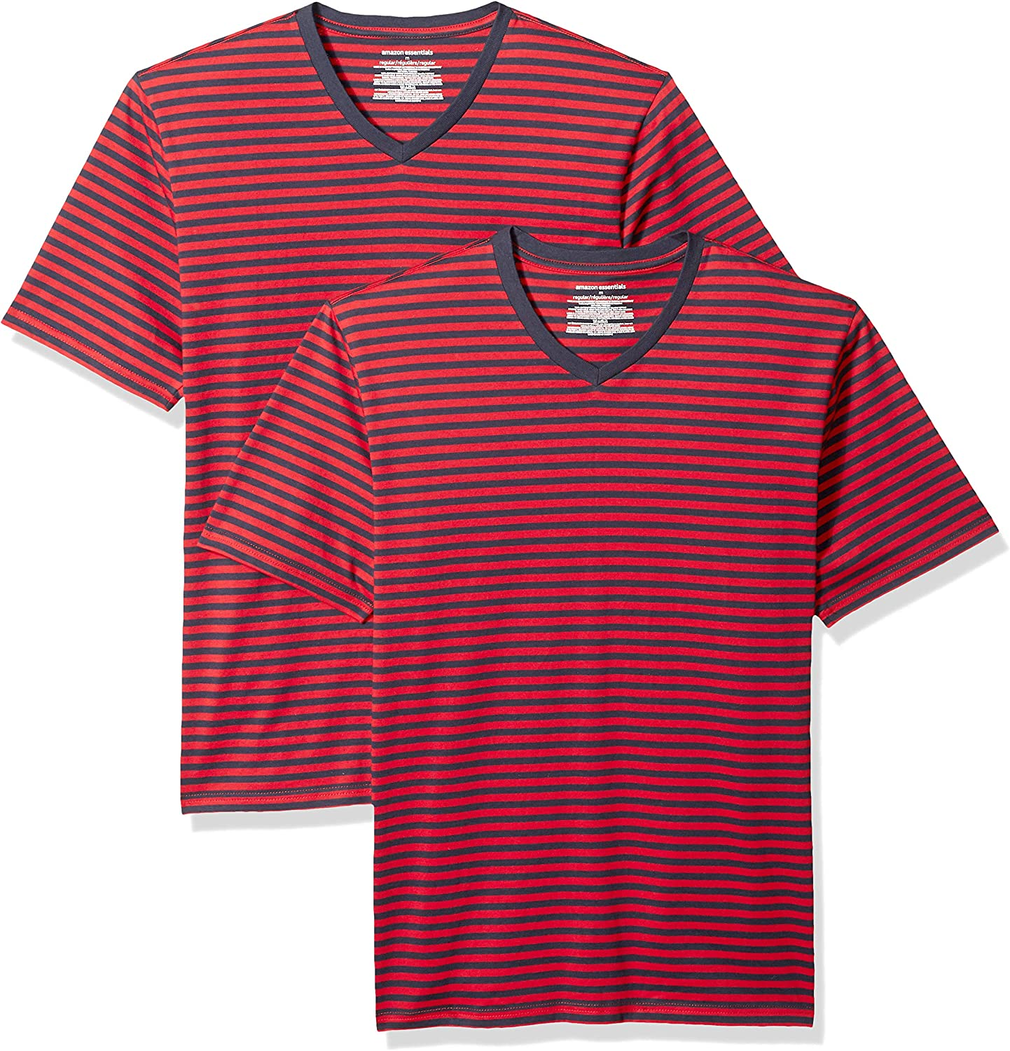 Essentials Men's Loose-fit Short-Sleeve Stripe V-Neck T-Shirts: Clothing