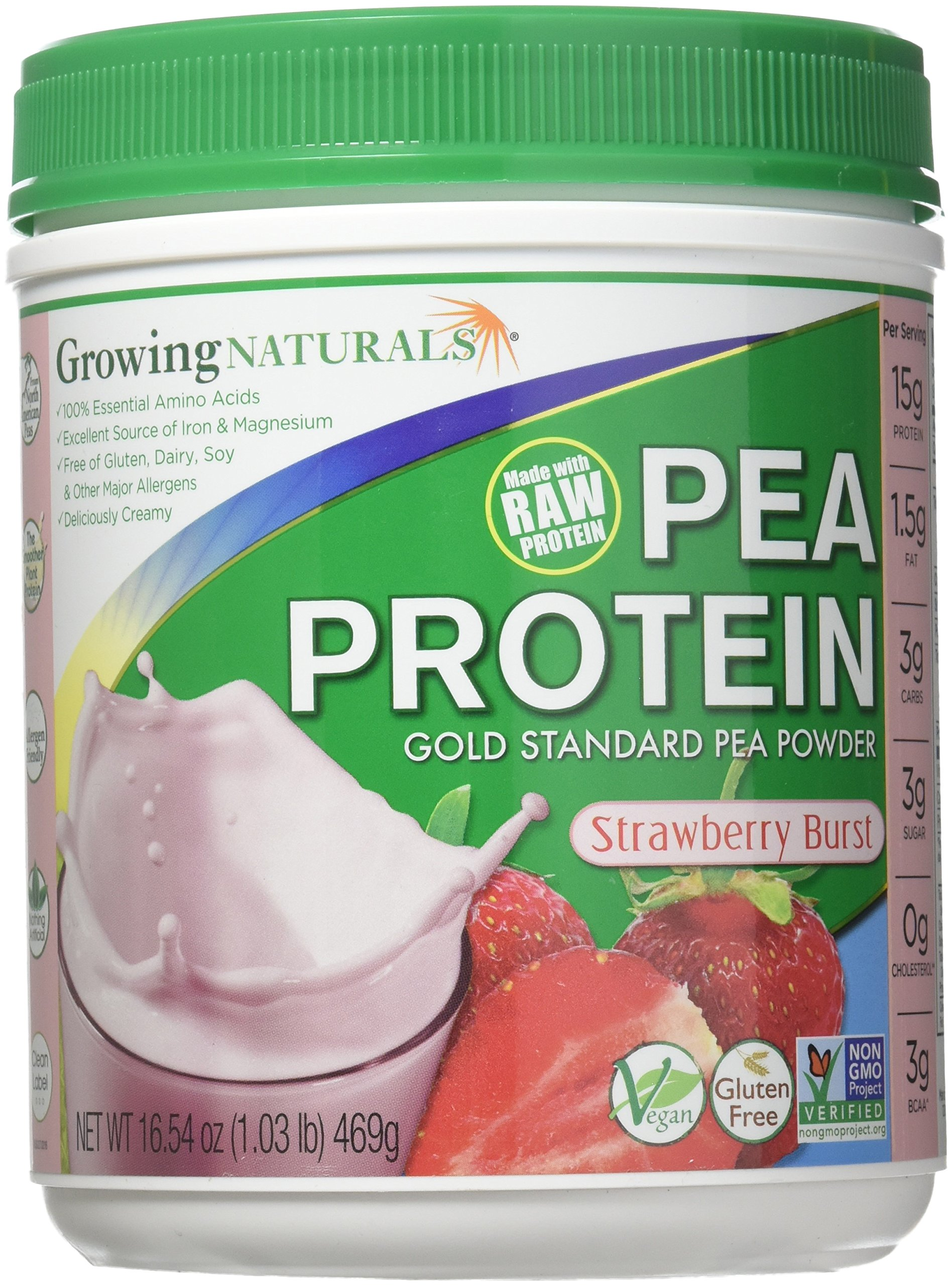 Growing Naturals Pea Protein Powder, Strawberry, 16 Ounce