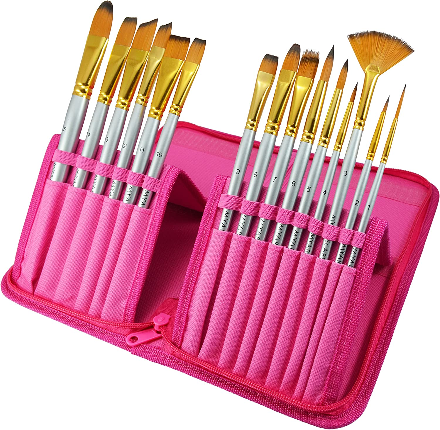 Paint Brushes - 15 Pc Art Brush Set for Watercolor, Acrylic, Oil & Face Painting | Short Handle Artist Paintbrushes with Travel Holder & Free Gift Box | 1 Year Warranty (Hot pink)