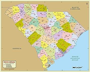 Sc Zip Code Map Amazon.: South Carolina County with Zip Code Map (36