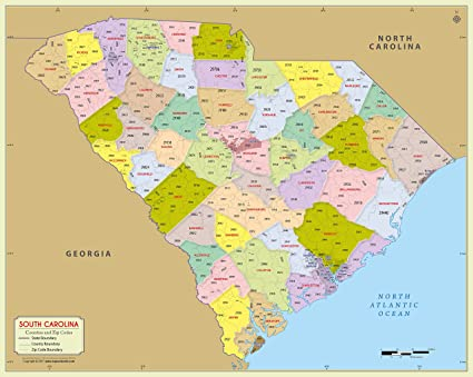 Amazon.com : South Carolina County with Zip Code Map (36\