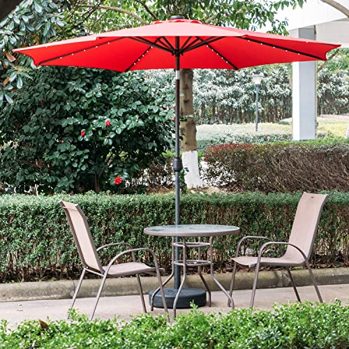 DOIT 10ft Solar LED Lighted Patio Table Umbrella