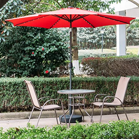 DOIT 10ft Solar LED Lighted Patio Table Umbrella with Crank and 8 Ribs,Tilt Adjustment Outdoor Umbrella with Fade Resistant Water Proof Fabric and Push Button Polyester Canopy with Base
