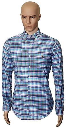 Polo Ralph Lauren Mens Stretch Oxford Slim Fit Sport Shirt, BluBrwnNvyRd S