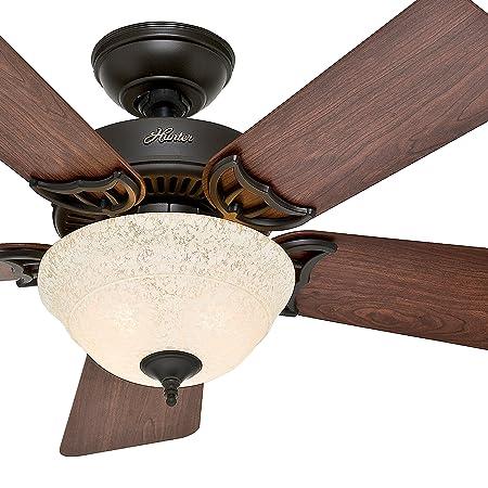 Hunter Fan 42 inch Brushed Nickel Ceiling Fan with a Amber Linen Glass Light Kit, 5 Blade Renewed New Bronze