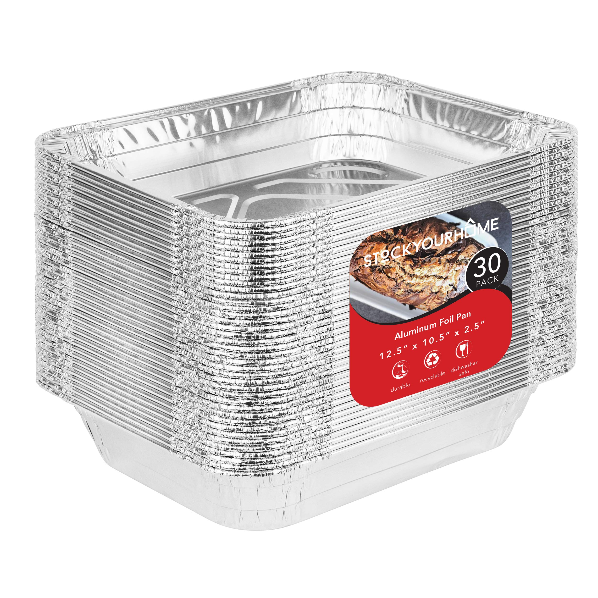 Aluminum Pans 9x13 Disposable Foil Pans (30 Pack) - Half Size Steam Table Deep Pans - Tin Foil Pans Great for Cooking, Heating, Storing, Prepping Food by Stock Your Home