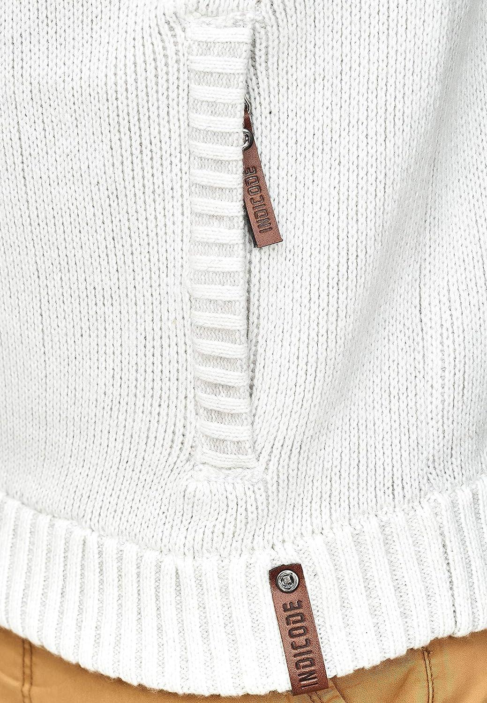 Calda Cerniera Lampo Cardigan Pullover Zipper Uomo Invernale per Uomo Indicode Uomo Lothian Giacca in Maglia con Cappuccio E Fodera Effetto Teddy Bear Tasche Laterali