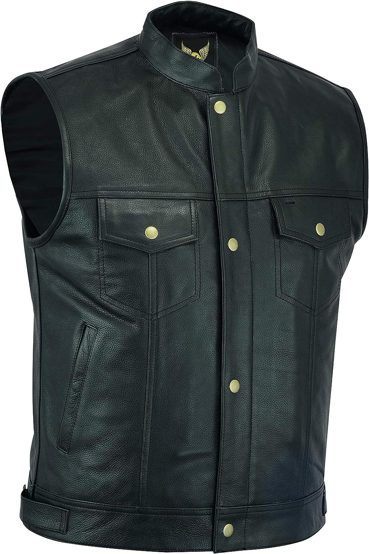 Leatherick SOA Chaleco de motociclista de cuero genuino para hombre, botones abiertos para montar y corte de moda estilo chaleco, con bolsillos profundos