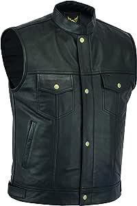 Leatherick SOA Chaleco de motociclista de cuero genuino para hombre, botones abiertos para montar y corte de moda estilo chaleco, con bolsillos ...