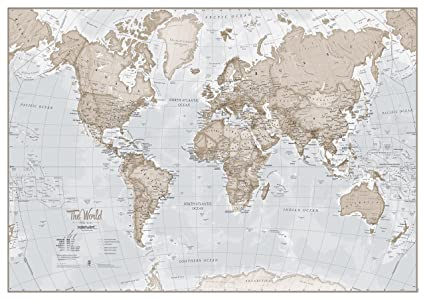 World Map Print Amazon.com: Large Map of The World – Silk Art Print World Map