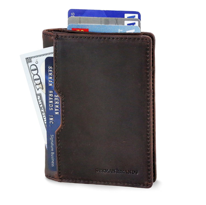 0571373fd2d2 SERMAN BRANDS - Wallets for Men Slim Mens leather RFID Blocking Minimalist  Card Front Pocket Bifold Travel Thin