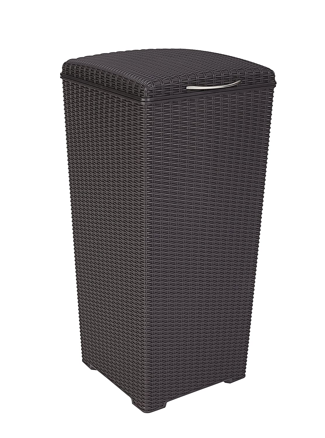 Keter Pacific 30 Gal. Outdoor Resin Wicker Waste Basket Trash Can with Liner
