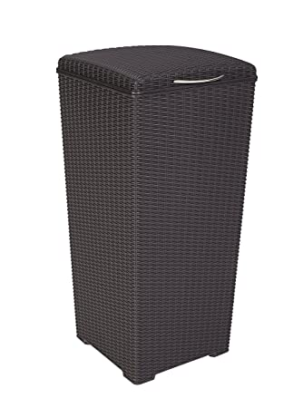 Outdoor Resin Wicker Waste Basket Trash Can With Liner