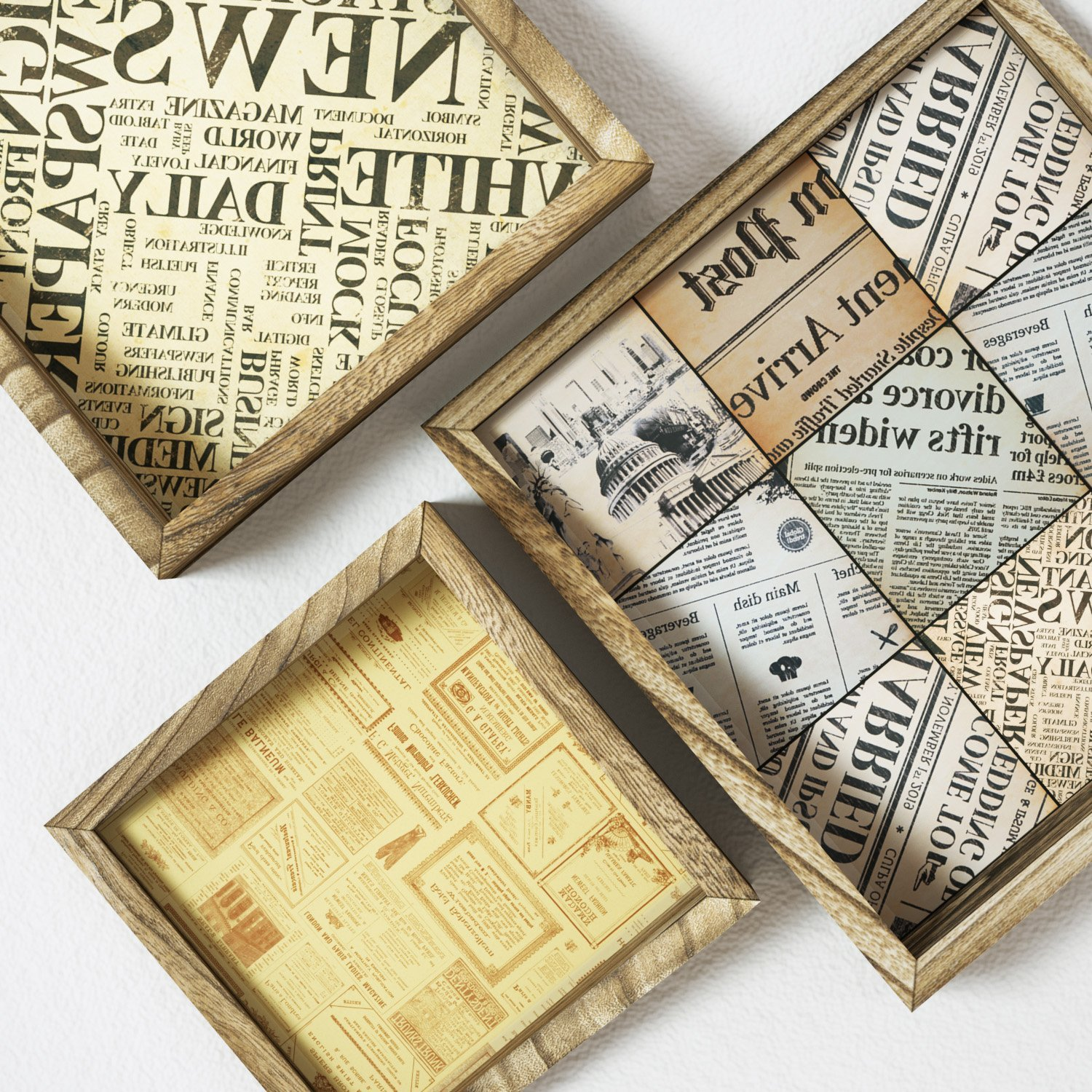 Love-KANKEI Floating Shelves Wall Mount - Rustic Wood Wall Shelf with Old Newspaper Style Paper Board Set of 3 by Love-KANKEI (Image #2)