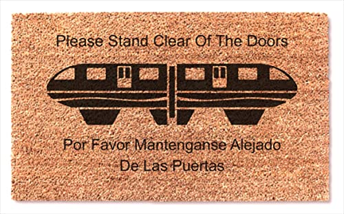 Welcome Home Decor Doormat Funny Mat Monorail Tram Train Design Coir Door mat Magic Kingdom Mono Rail Mats Please Stand Clear of The Doors