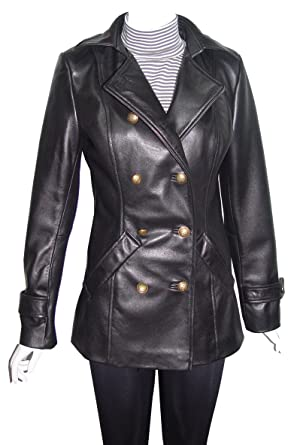35c2e4c4b78 NETTAILOR Big Women Tall Plus 4100 Leather Long Blazer Pea Coat at Amazon  Women s Clothing store