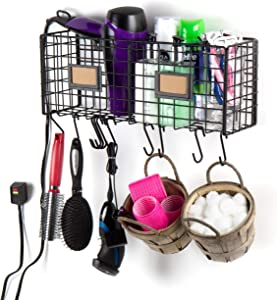 Wall35 Wall Mountable Multiuse Bathroom Storage Organizer Wire Rack Hair Dryer Holder with 10 Hooks Black