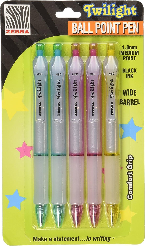 1 mm, tinta negra, 2 de cada barril pastel, 10 unidades Zebra Z-Grip Smooth Bol/ígrafo de punta redonda