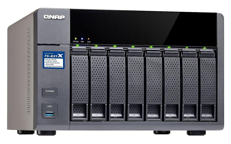 QNAP TS-831X Ethernet Torre Negro NAS - Unidad Raid (Unidad de Disco Duro, SSD, SATA, Serial ATA II, Serial ATA III, 2.5,3.5