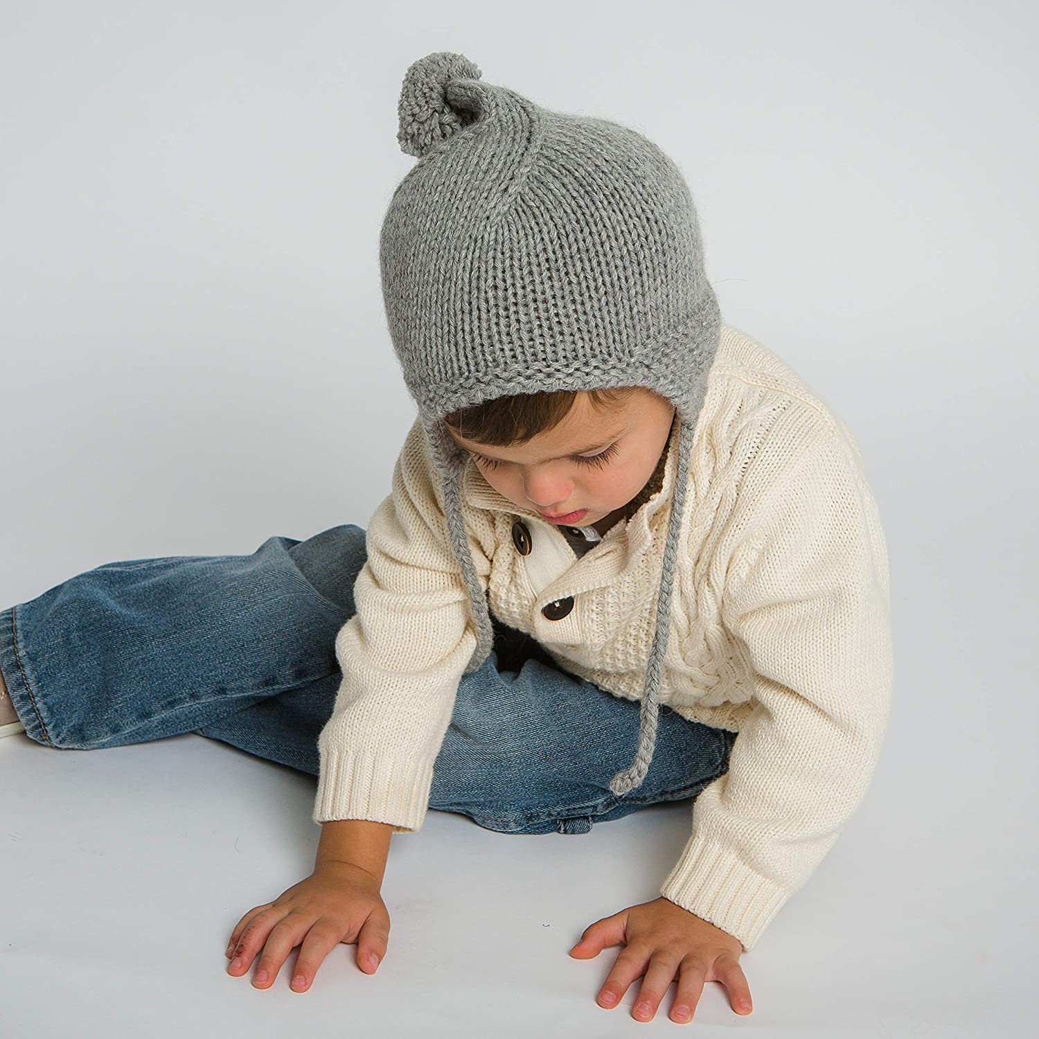 Hand-Knit 100% Organic Alpaca Wool | Caraz Bonnet Hat (Light Grey) by Surhilo | Soft, Quality, Hypoallergenic | The Perfect and Eco-Friendly Way to Keep Your Baby and Toddler Cozy and Comfortable