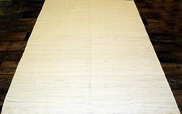 Flickenteppich weiß  240x170cm Einfarbiger Fleckerlteppich in WEISS CREME Handgewebt ...