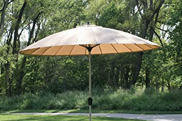 9 10u0027 Outdoor Wind Resistant Patio Umbrella With Aluminum Pole   Tan