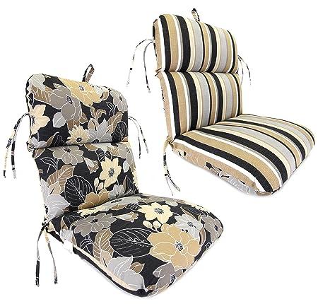 Jordan Manufacturing Reversible Outdoor Chair Cushion in Yvonne Mils Stripe, Ebony