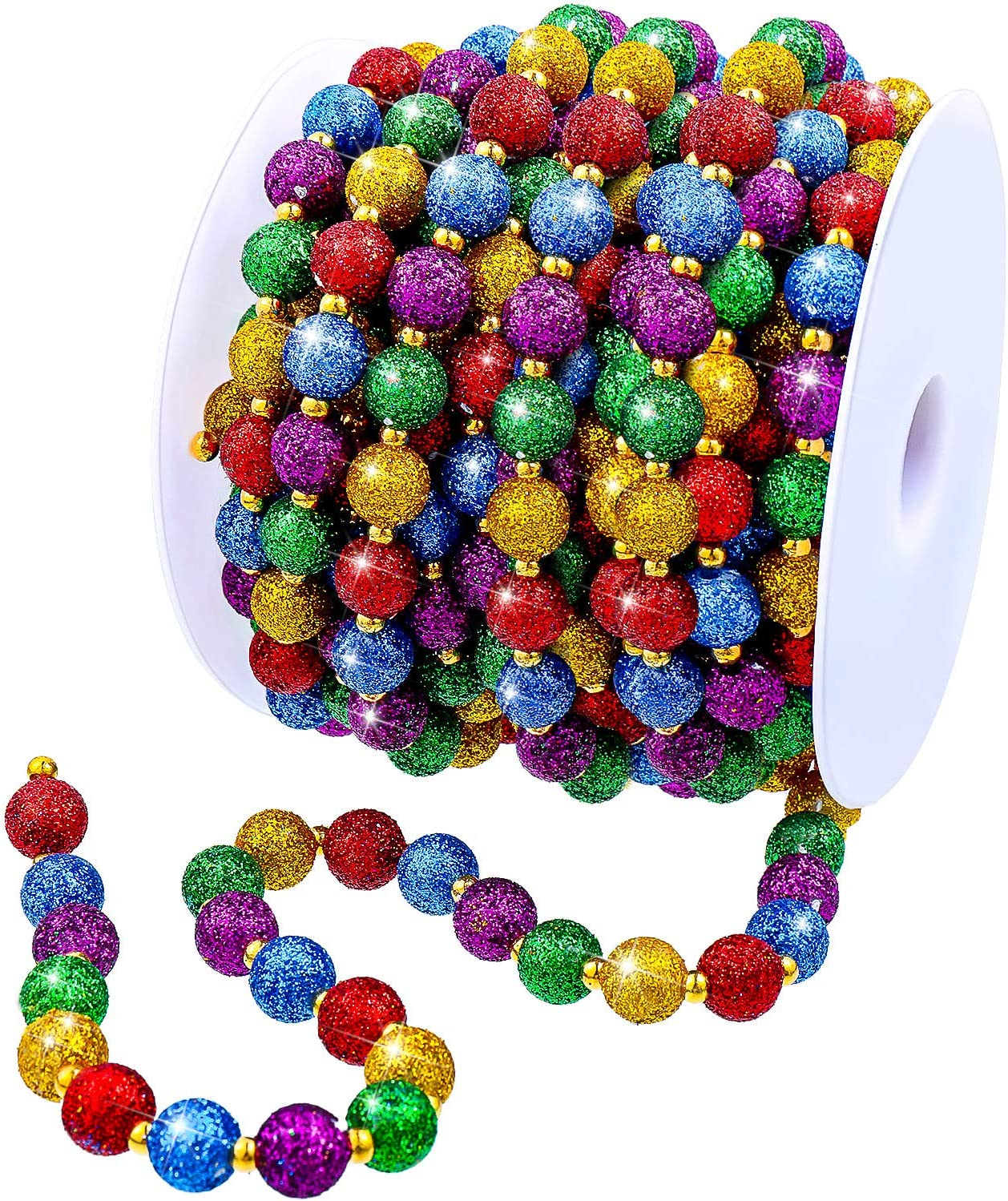 20 Feet Christmas Multi-Color Beaded Garland Glitter Colorful Tree Beads Garland Plastic Beads Garland Ribbon Faux Pearl Bead Garland for Christmas and Holiday Decorations