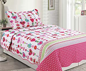 Sapphire Home 2pc Twin Size Bedspread Quilt Set Bedding for Kids Teens Girls, Hearts Flowers Hot Pink White Coverlet, Twin Bedspread + Pillow Sham, Twin XJ43 Hearts Pink