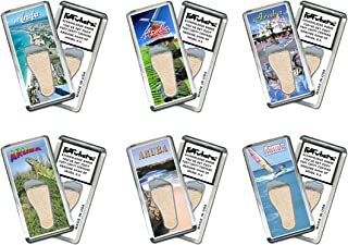 product image for Aruba FootWhere Magnets. 6 Piece Set. Authentic destination souvenir acknowledging where you've set foot. Genuine soil of featured location encased inside foot cavity. Made in USA
