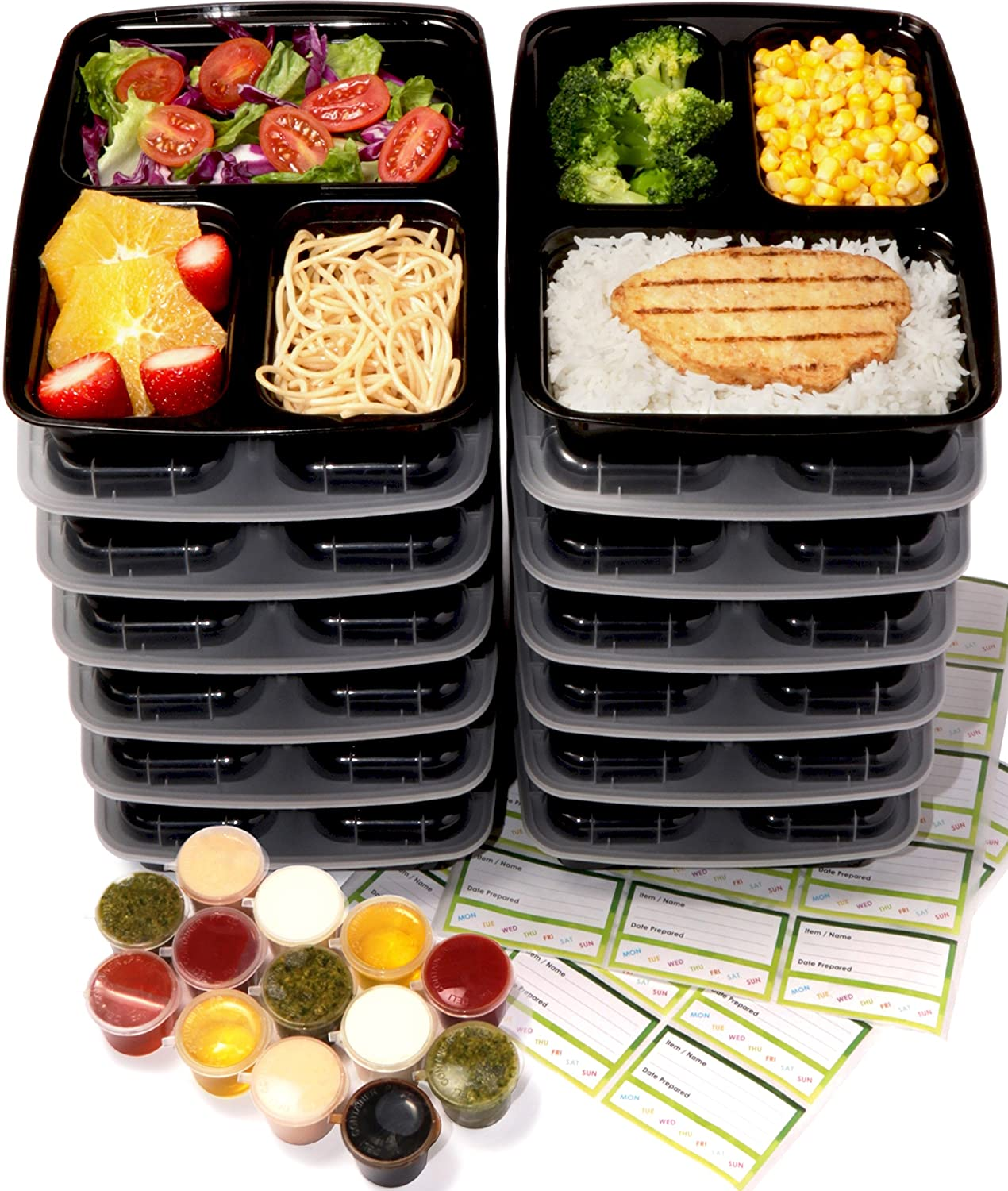 Chef Fresh Packs Meal Prep Container 16-Pack | Black Food Containers Meal Prepping 950ml Reusable, Dishwasher, Freezer & Microwave Safe Take Away Food Boxes
