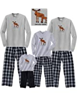 Fun Moose Matching Holiday Adult Pajamas & Kids Playwear Tangled in Christmas Lights for Whole Family
