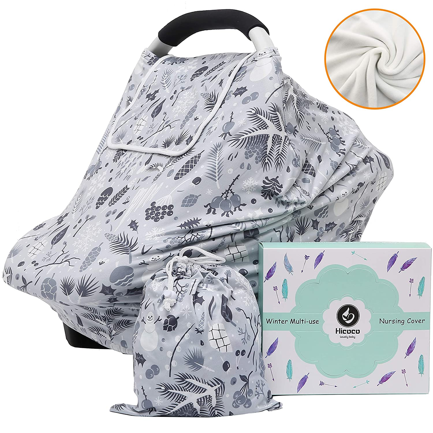 Winter Fleece Lined Baby Car Seat Covers Thermal Double Layer Carseat Canopy Multi-use Stretchy Breastfeeding Nursing Covers for Boys and Girls Hicoco