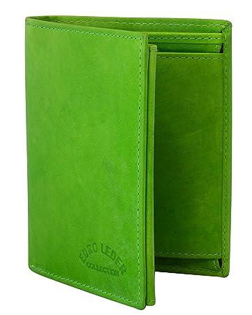 ebc97f23fa9876 Grüne Geldbörse aus Leder Hochformat - ledergeldbörse Damen Herren Leather  Wallet Portemonnaie Brieftasche Echtleder Geldbeutel Grün