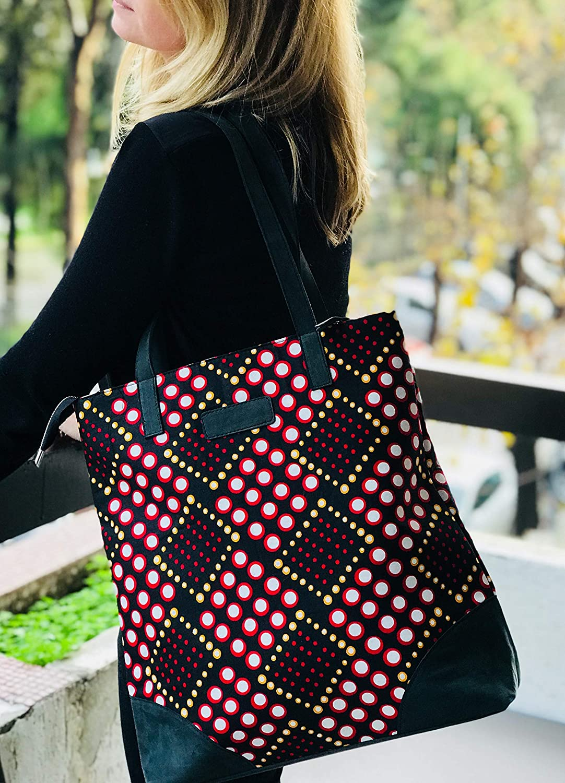 Mustard and black tote bag Red Ankara African wax cotton Reversible Tote Bag