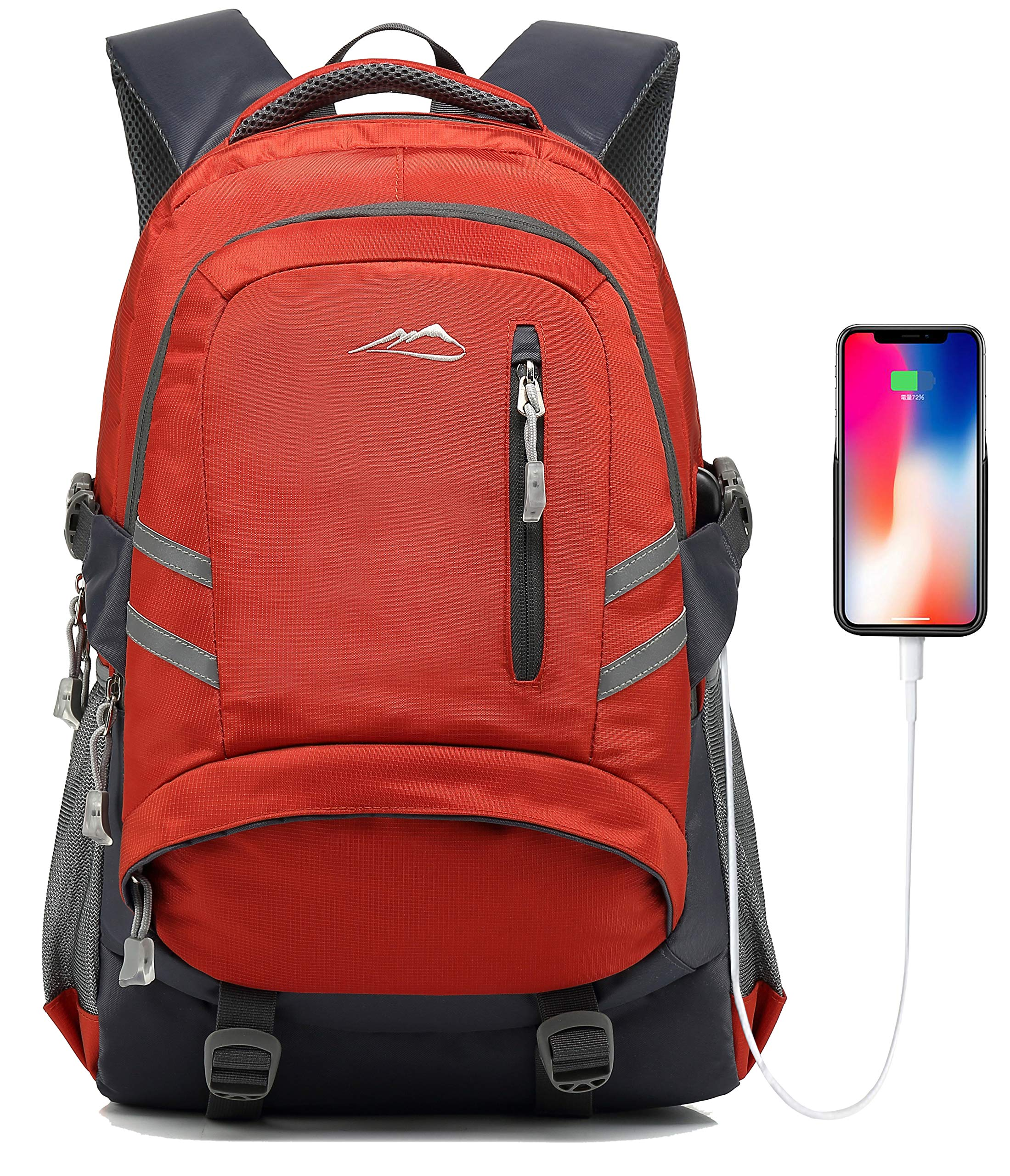 Backpack for School College Student Bookbag Business Laptop Travel with USB Charging Port Chest Luggage Straps Night Light Reflective (Orange) by Sandsuced