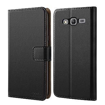 HOOMIL Funda Galaxy Grand Prime, Cuero Premium Fundas para Samsung Galaxy Grand Prime Cover Carcasa Case (H3119, Negro) (Grand Prime Negro)