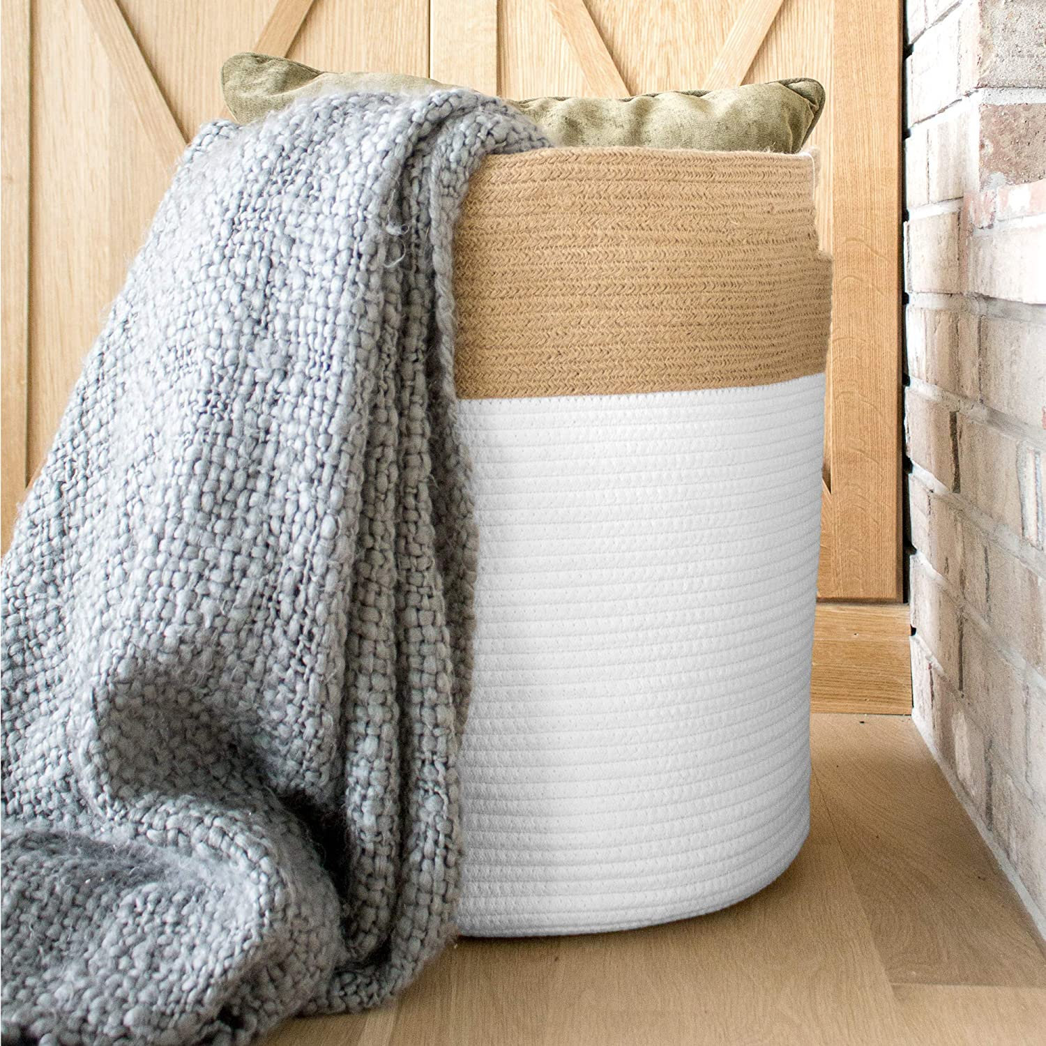 Shop Chloe and Cotton Extra Large Tall Woven Rope Storage Basket from Amazon on Openhaus