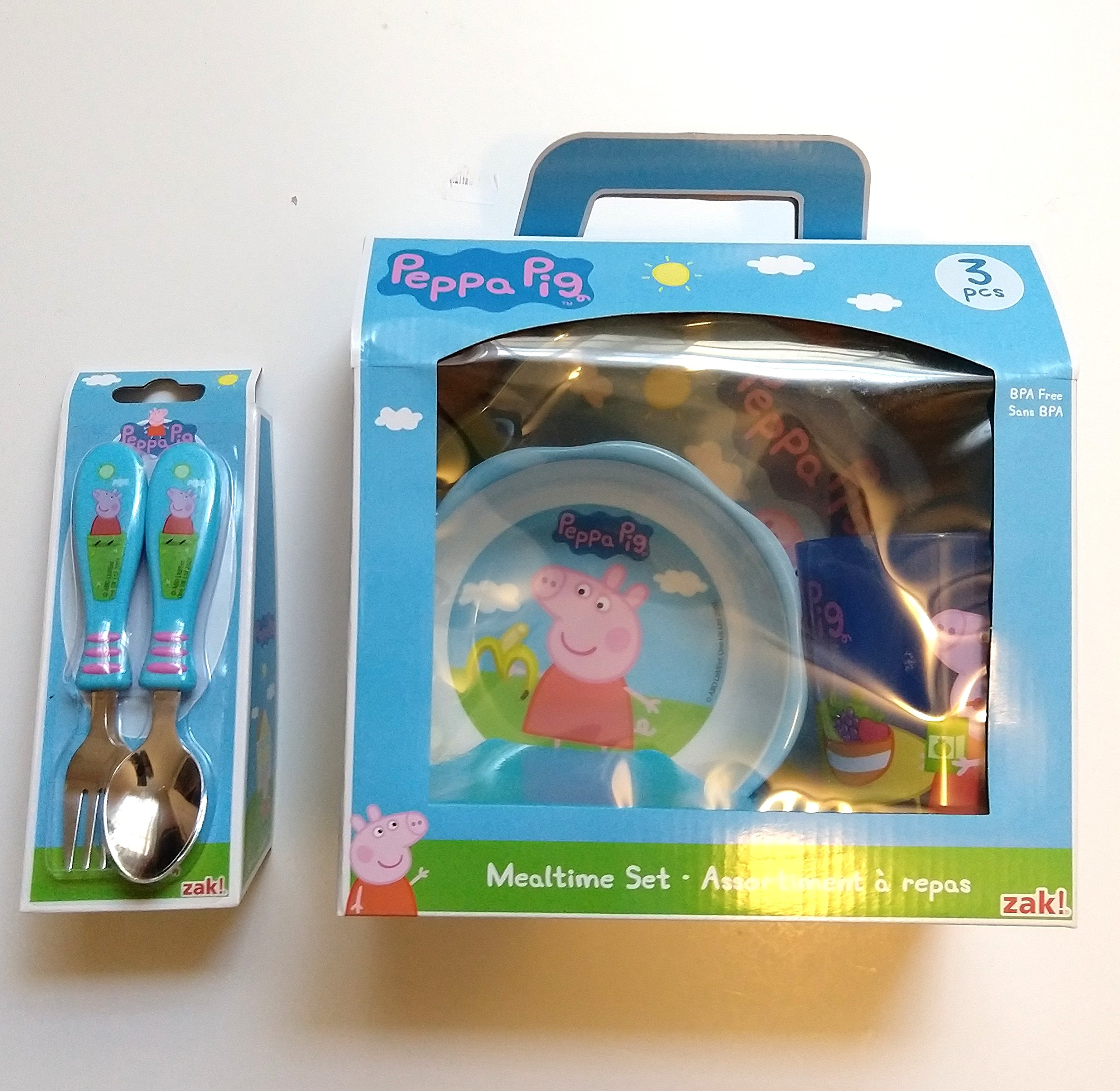 Peppa Pig Mealtime Set with Plate, Bowl and Tumbler, Break Resistant and BPA-free Plastic, 5 piece set by Zak! Designs