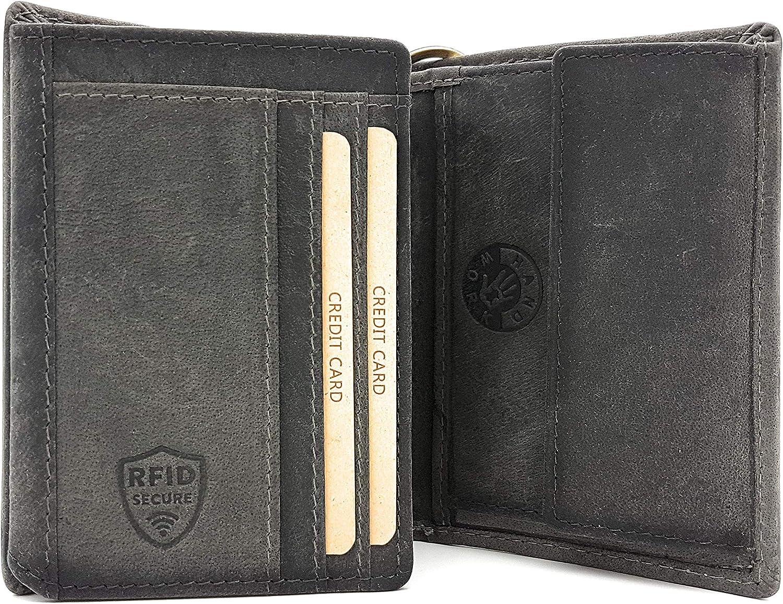 Portefeuille Biker avec cha/îne en Cuir de Vachette Naturel avec Protection RFID