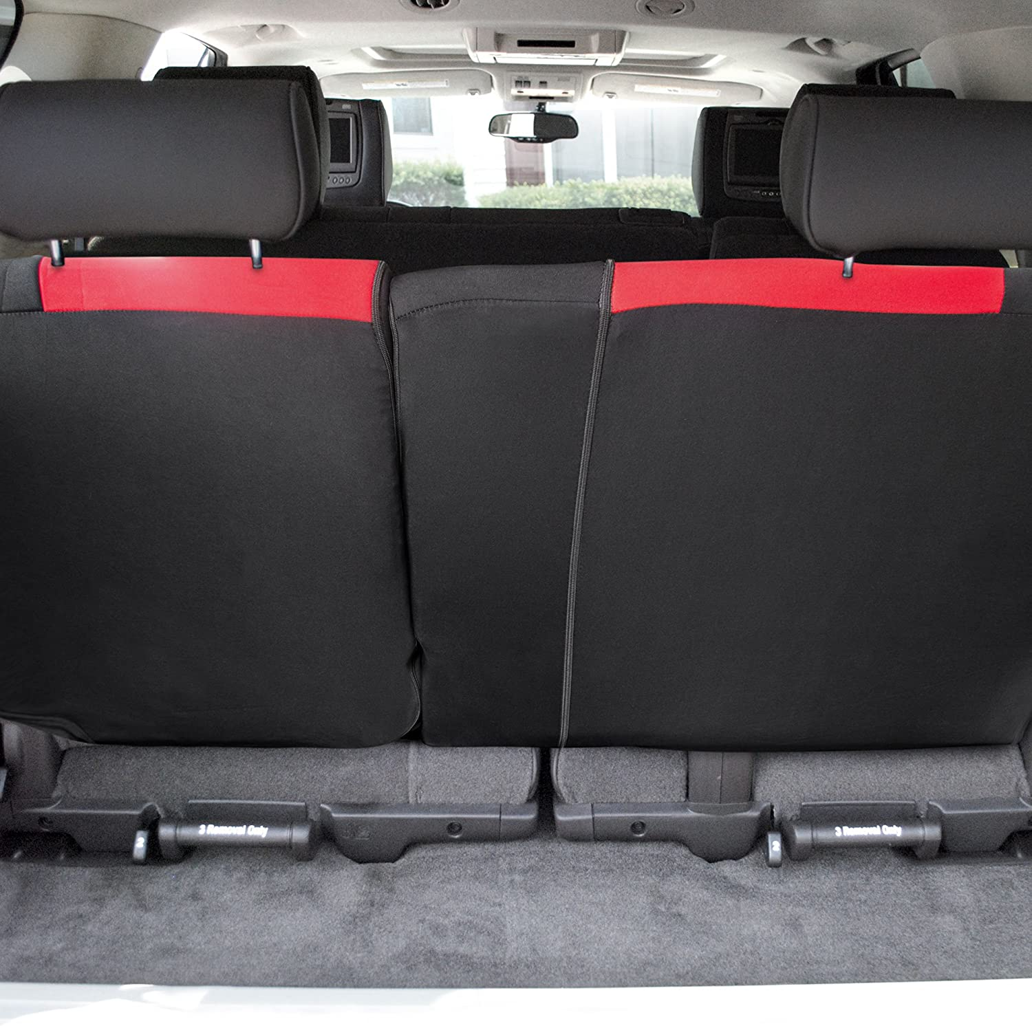 FH Group FB039013RED Multifunctional Cloth Split Bench Car Seat Cover (Full Coverage Car Bench Cover- Backrest is Covered on All Sides)