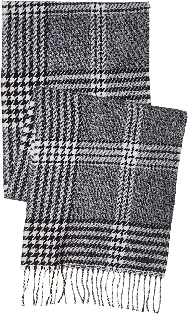 Lacoste Mens Chic Scarf Cold Weather Scarf Flour/Black One Size Cold  Weather Scarves