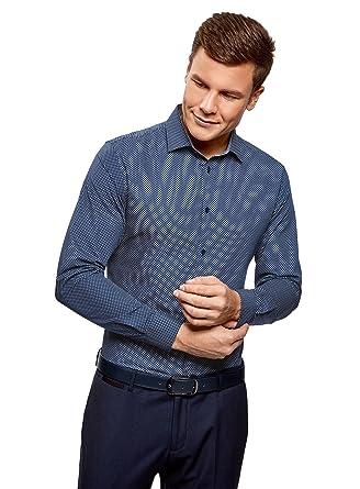 oodji Ultra Hombre Camisa Entallada de Algodón, Azul, 38cm / ES 44 / XS