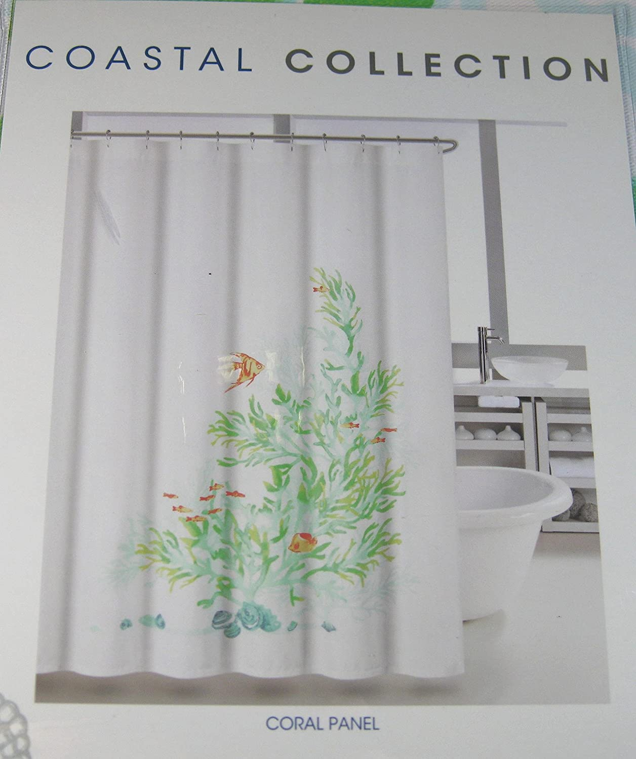 Amazon Coastal Collection Shower Curtain Coral Panel 72 X Home Kitchen