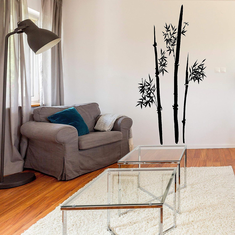 Vinilo adhesivo de pared de bambú - Juego de Tallo Art Decor Puerta de la casa de diseño de calcomanías - Negro Hoja Diy Adhesivo Mural Tropic - Tallo de bambú Calcomanías:
