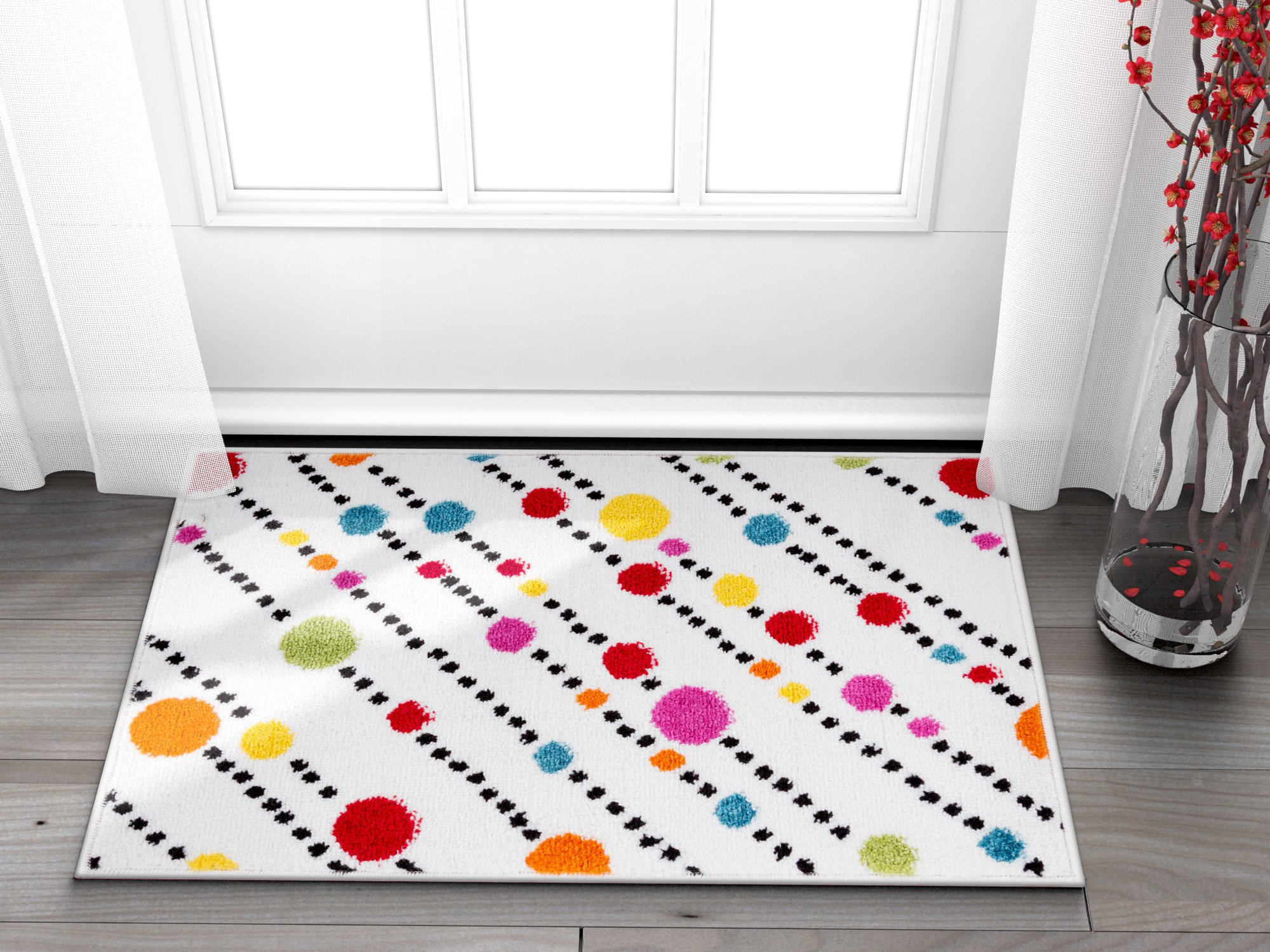 Well Woven Small Rug Mat Doormat Modern Kids Room Kitchen Rug Dandy Dots And Stripes Ivory 1'8'' x 2'7'' Accent Area Rug Entry Way Bright Carpet Bathroom Soft Durable