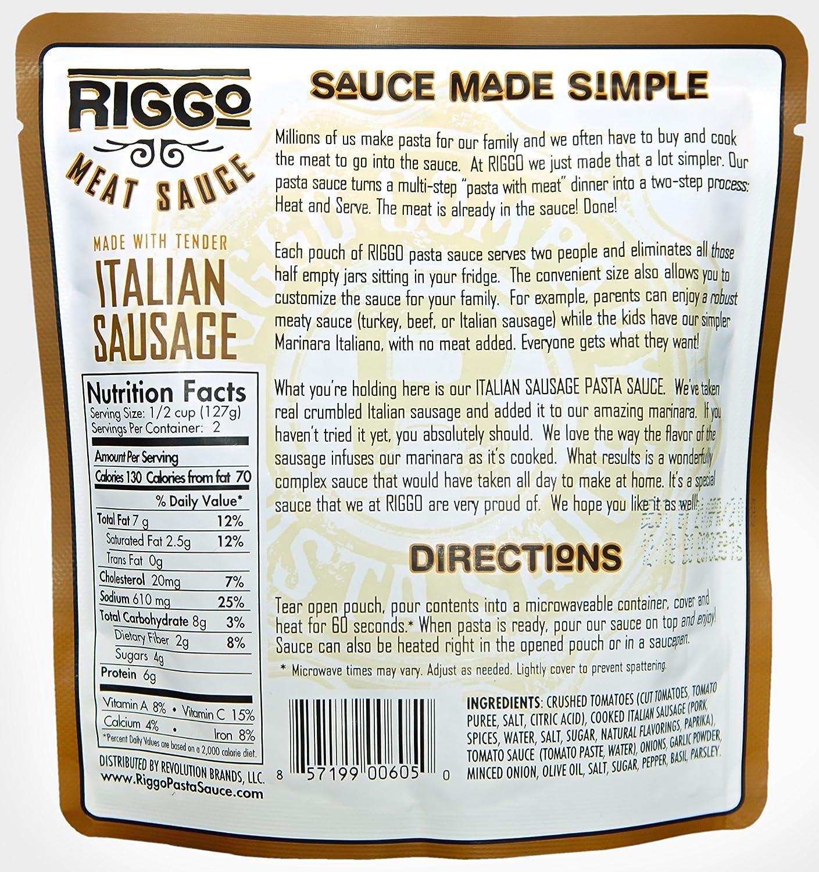 Amazoncom Riggo Pasta Sauce With Meat 8 Keto Friendly Packets