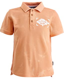 Cotton GULLIVER Boys Polo Shirt Animal Print for 2-7 Years Casual Short Sleeve Regular Fit Colour Orange Elongated Back