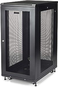 "StarTech.com 24U Server Rack Cabinet - 4-Post Adjustable Depth (2"" to 30"") Network Equipment Rack Enclosure w/Casters/Cable Management/Shelf/Locking Dell PowerEdge HP ProLiant ThinkServer (RK2433BKM)"